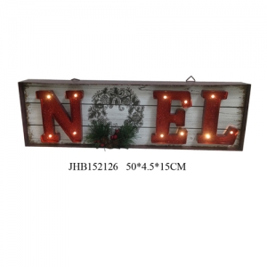 noel iron Wall Decoration LED Light Up Xmas Sign Plaque